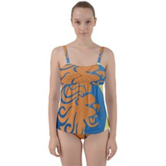 Lion Zodiac Sign Zodiac Moon Star Twist Front Tankini Set