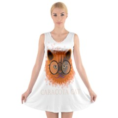Cat Smart Design Pet Cute Animal V Neck Sleeveless Skater Dress