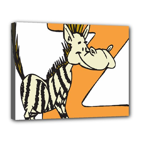 Zebra Animal Alphabet Z Wild Canvas 14  X 11