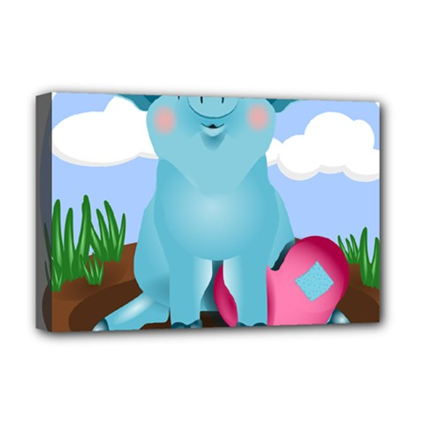 Pig Animal Love Deluxe Canvas 18  X 12   by Nexatart