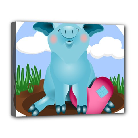 Pig Animal Love Deluxe Canvas 20  X 16   by Nexatart
