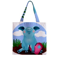 Pig Animal Love Zipper Grocery Tote Bag