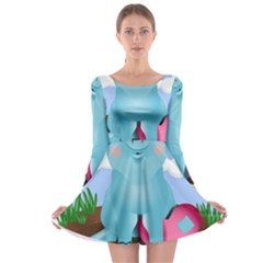 Pig Animal Love Long Sleeve Skater Dress