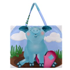 Pig Animal Love Zipper Large Tote Bag by Nexatart