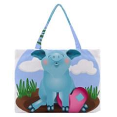 Pig Animal Love Zipper Medium Tote Bag by Nexatart