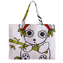 Panda China Chinese Furry Zipper Mini Tote Bag by Nexatart