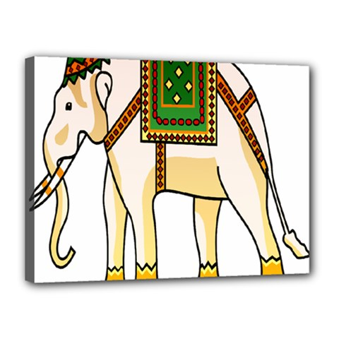 Elephant Indian Animal Design Canvas 16  X 12