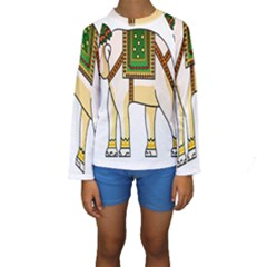 Elephant Indian Animal Design Kids  Long Sleeve Swimwear by Nexatart