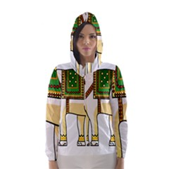 Elephant Indian Animal Design Hooded Wind Breaker (women)