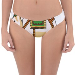 Elephant Indian Animal Design Reversible Hipster Bikini Bottoms