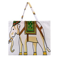 Elephant Indian Animal Design Zipper Large Tote Bag