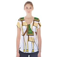 Elephant Indian Animal Design Short Sleeve Front Detail Top