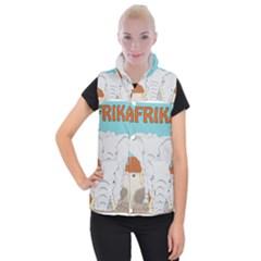 Africa Elephant Animals Animal Women s Button Up Puffer Vest