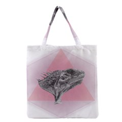 Lizard Hexagon Rosa Mandala Emblem Grocery Tote Bag by Nexatart