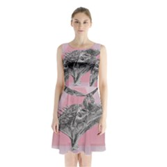 Lizard Hexagon Rosa Mandala Emblem Sleeveless Waist Tie Chiffon Dress