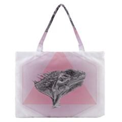 Lizard Hexagon Rosa Mandala Emblem Zipper Medium Tote Bag