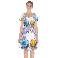 Flowers Floral Flowery Spring Short Sleeve Bardot Dress