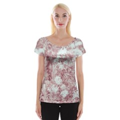Pink Colored Flowers Cap Sleeve Tops by dflcprints