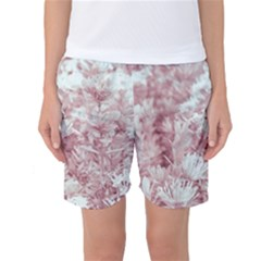 Pink Colored Flowers Women s Basketball Shorts by dflcprints