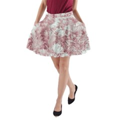 Pink Colored Flowers A Line Pocket Skirt by dflcprints