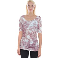 Pink Colored Flowers Wide Neckline Tee