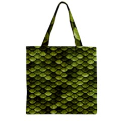 Green Mermaid Scales   Zipper Grocery Tote Bag by paulaoliveiradesign