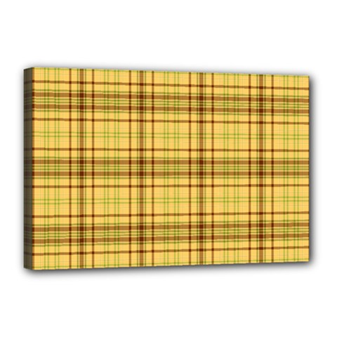 Plaid Yellow Fabric Texture Pattern Canvas 18  X 12  by paulaoliveiradesign