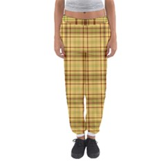 Plaid Yellow Fabric Texture Pattern Women s Jogger Sweatpants by paulaoliveiradesign
