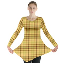 Plaid Yellow Fabric Texture Pattern Long Sleeve Tunic  by paulaoliveiradesign
