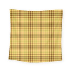 Plaid Yellow Fabric Texture Pattern Square Tapestry (small) by paulaoliveiradesign