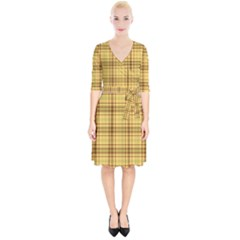 Plaid Yellow Fabric Texture Pattern Wrap Up Cocktail Dress
