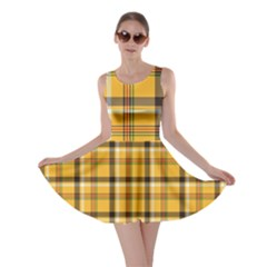Yellow Fabric Plaided Texture Pattern Skater Dress by paulaoliveiradesign