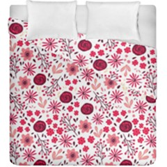 Red Floral Seamless Pattern Duvet Cover Double Side (king Size) by TastefulDesigns