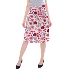 Red Floral Seamless Pattern Midi Beach Skirt by TastefulDesigns