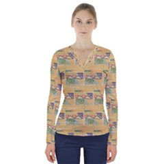 Hand Drawn Ethinc Pattern Background V Neck Long Sleeve Top