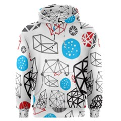 Blue Black Red White Shape Pattern  Men s Pullover Hoodie by amphoto