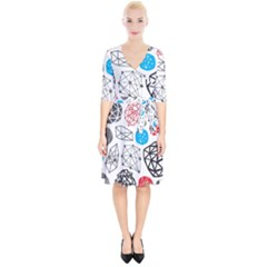 Blue Black Red White Shape Pattern  Wrap Up Cocktail Dress