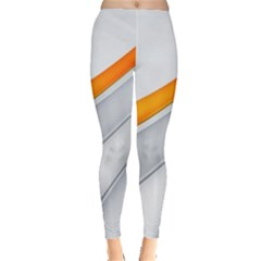 Abstraction Yellow White Line  Leggings  by amphoto