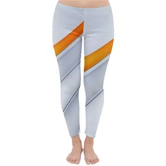 Abstraction Yellow White Line  Classic Winter Leggings by amphoto