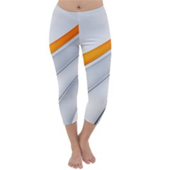 Abstraction Yellow White Line  Capri Winter Leggings  by amphoto