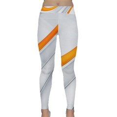 Abstraction Yellow White Line  Classic Yoga Leggings by amphoto