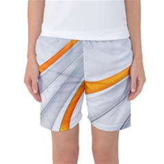 Abstraction Yellow White Line  Women s Basketball Shorts by amphoto