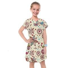 Texture Birds Hearts Background Balls Surface  Kids  Drop Waist Dress