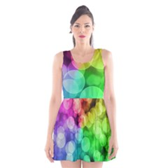 Abstraction Multicolored Glare  Scoop Neck Skater Dress by amphoto