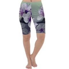 Branch Flowering Cherry Spring  Cropped Leggings  by amphoto