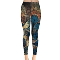 Abstract Pattern Blue And Gold Leggings  by amphoto