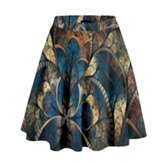 Abstract Pattern Blue And Gold High Waist Skirt by amphoto