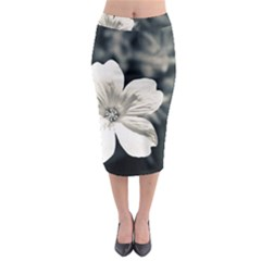 Flower White Black Blue  Midi Pencil Skirt by amphoto