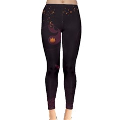 Wolf Night Alone Dark  Leggings  by amphoto