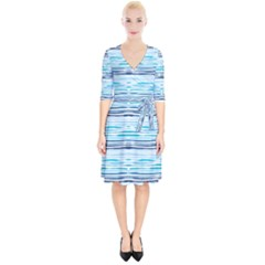 Watercolor Blue Abstract Summer Pattern Wrap Up Cocktail Dress